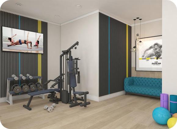 Siłownia fitness Art Deco wnętrze